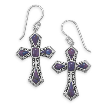 Purple Turquoise Silver Setting Drop Earrings 1.69 Inches