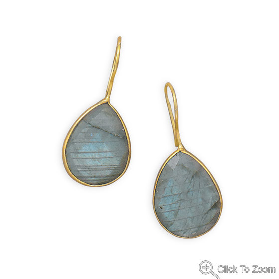 Gray Labradorite Gold Plated Drop Earrings 1.41 Inches