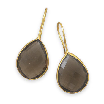 Brown Smoky Quartz Gold Plated Drop Earrings 1.41 Inches