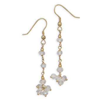 Brown Moonstone Gold Plated Cha-cha Earrings 1.96 Inches