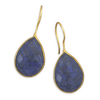 Blue Lapis Lazuli Gold Plated Drop Earrings 1.41 Inches