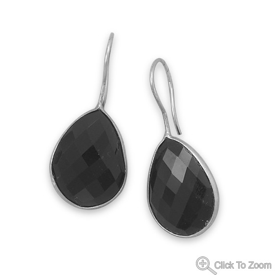 Black Onyx Silver Setting Drop Earrings 1.41 Inches