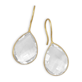 White Crystal Gold Plated Drop Earrings 1.41 Inches