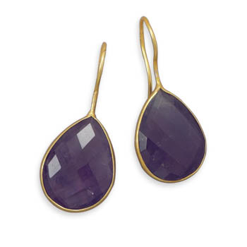 Purple Amethyst Gold Plated Drop Earrings 1.41 Inches