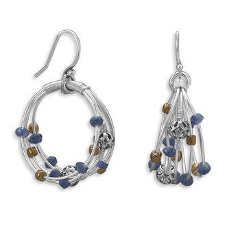 Multi-color Multi-stone Silver Setting Hoop Earrings 1.57 Inches