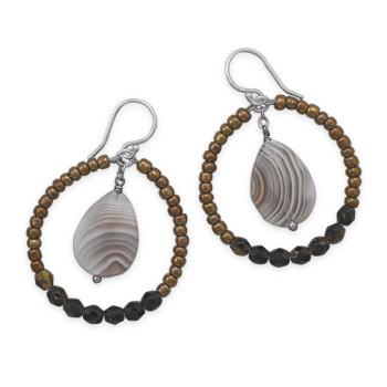 Multi-color Multi-stone Beaded Hoop Earrings 1.96 Inches