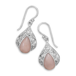 Pink Pink Opal Silver Setting Drop Earrings 1.41 Inches