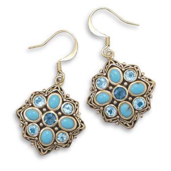 Blue Multi-stone Brass Drop Earrings 1.57 Inches