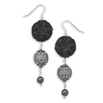 Black Multi-stone Silver Setting Drop Earrings 2.75 Inches