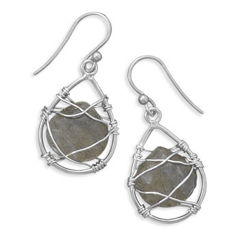 Brown Labradorite Silver Setting Drop Earrings 1.33 Inches