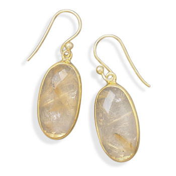 Multi-color Rutilated Quartz Gold Plated Drop Earrings 1.37 Inches