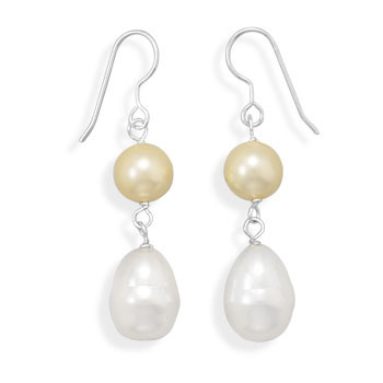 Multi-color Pearl Beaded Drop Earrings 1.45 Inches