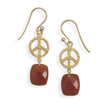 Orange Carnelian Gold Plated Drop Earrings 1.49 Inches
