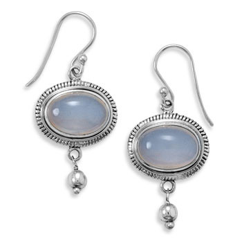 Gray Chalcedony Silver Setting Drop Earrings 1.18 Inches