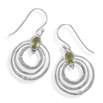 Green Peridot Silver Setting Drop Earrings 1.37 Inches