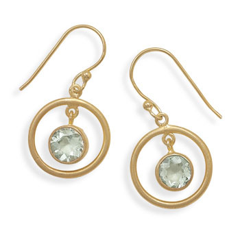 Green Green Amethyst Gold Plated Drop Earrings 1.18 Inches
