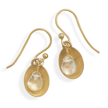 Clear Aquamarine Gold Plated Drop Earrings 0.98 Inches