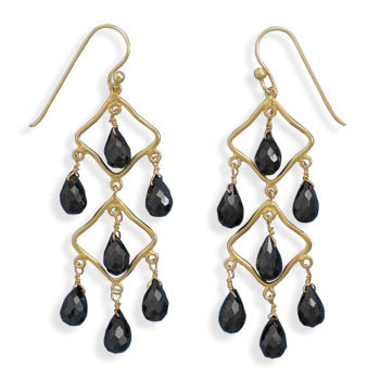 Black Black Spinel Gold Plated Chandelier Earrings 2.36 Inches
