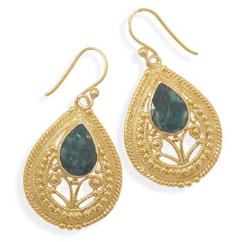 Green Emerald Gold Plated Drop Earrings 1.65 Inches