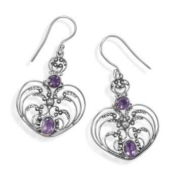 Purple Amethyst Silver Setting Drop Earrings 1.85 Inches