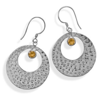 Yellow Citrine Silver Setting Drop Earrings 1.96 Inches