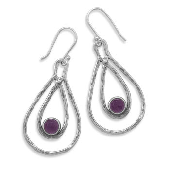 Purple Amethyst Silver Setting Drop Earrings 1.96 Inches