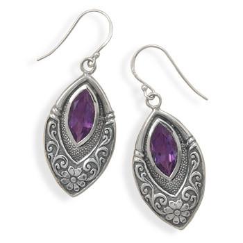Purple Amethyst Silver Setting Drop Earrings 1.25 Inches