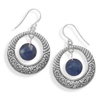 Blue Sapphire Silver Setting Drop Earrings 1.77 Inches
