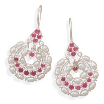 Multi-color Multi-stone Silver Setting Drop Earrings 1.69 Inches