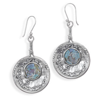 Blue Glass Silver Setting Drop Earrings 2.24 Inches