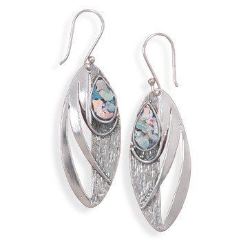 Multi-color Glass Silver Setting Drop Earrings 2.12 Inches