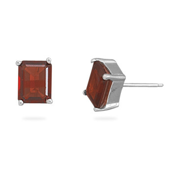 Red Garnet Silver Setting Studs Earrings 0.35 Inches
