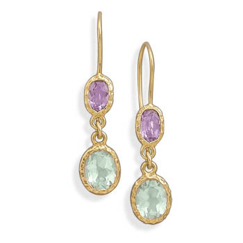 Multi-color Multi-stone Gold Plated Drop Earrings 1.49 Inches