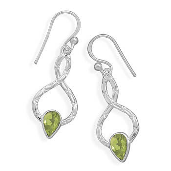 Green Peridot Silver Setting Drop Earrings 1.57 Inches