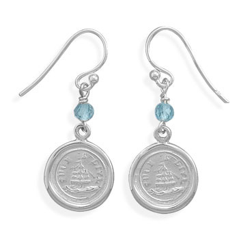 Blue Topaz Silver Setting Drop Earrings 1.29 Inches