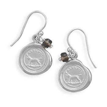 Brown Smoky Quartz Silver Setting Drop Earrings 0.94 Inches