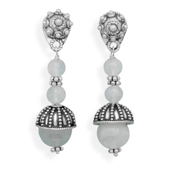White Moonstone Silver Setting Drop Earrings 1.06 Inches