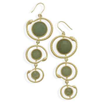 Green Aventurine Gold Plated Drop Earrings 2.71 Inches