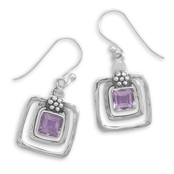 Purple Amethyst Silver Setting Drop Earrings 0.59 Inches