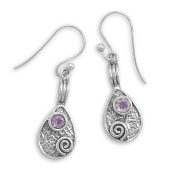 Purple Amethyst Silver Setting Drop Earrings 1.37 Inches
