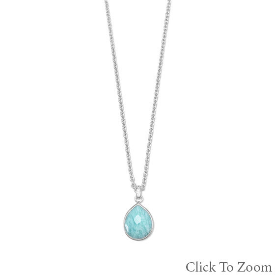 Blue Chalcedony Silver Setting Brides-maids Necklaces 26 Inches