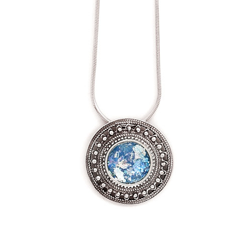 Blue Glass Silver Setting Necklaces 17 Inches