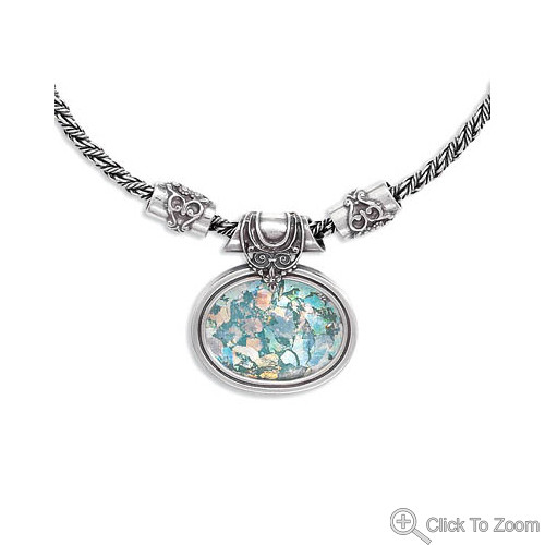 Multi-color Glass Silver Setting Necklaces 18 Inches