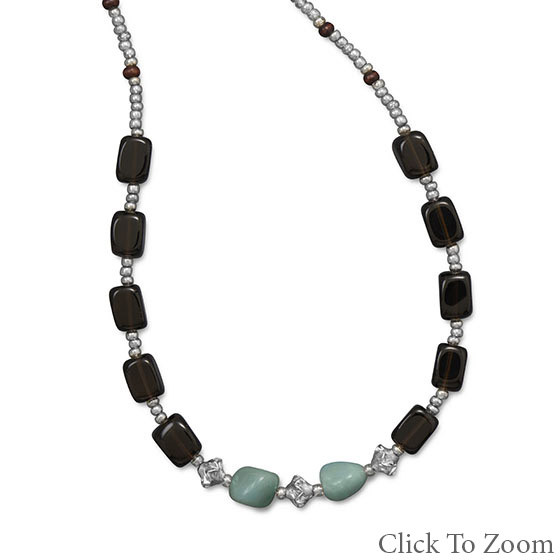 Multi-color Multi-stone Beaded Necklaces 16 Inches