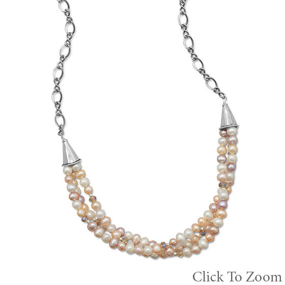 Multi-color Pearl Beaded Necklaces 16 Inches