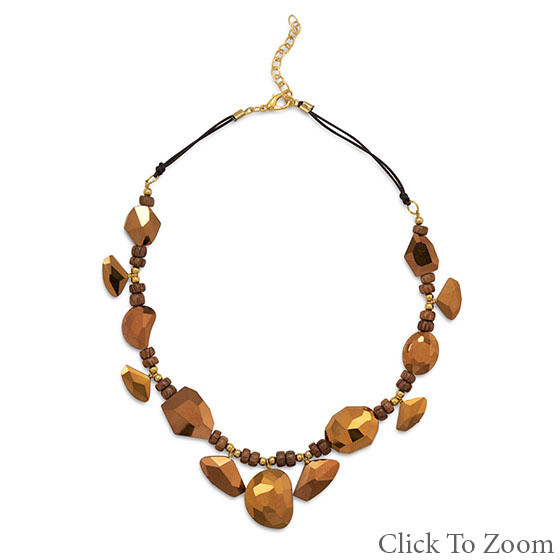 Brown Glass Beaded Necklaces 18 Inches