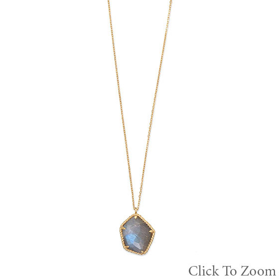 Gray Labradorite Gold Plated Necklaces 16 Inches