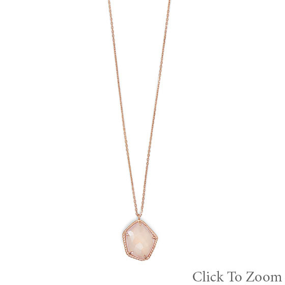 Pink Rose Quartz Gold Plated Necklaces 16 Inches