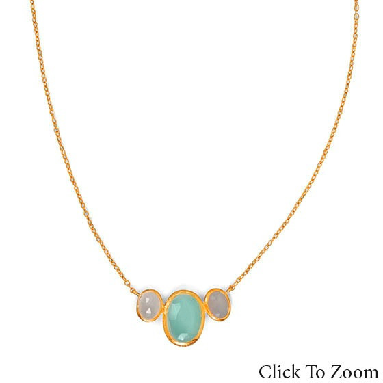 Multi-color Multi-stone Gold Plated Necklaces 18 Inches