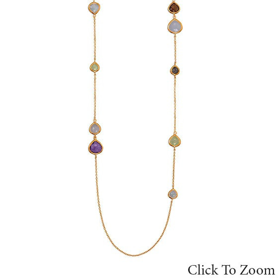 Multi-color Multi-stone Gold Plated Necklaces 25 Inches